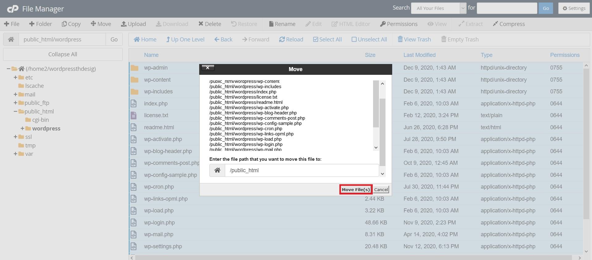 انتقال فایل در مدیریت فایل سی پنل