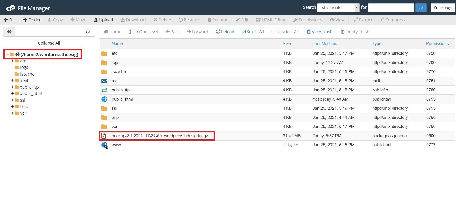 دانلود فول بکاپ در مدیریت فایل هاست سی پنل