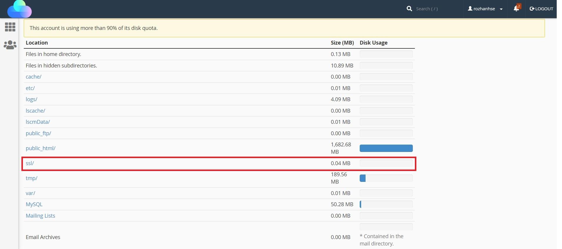 فایل های ssl ابزار Disk Usage در سی پنل