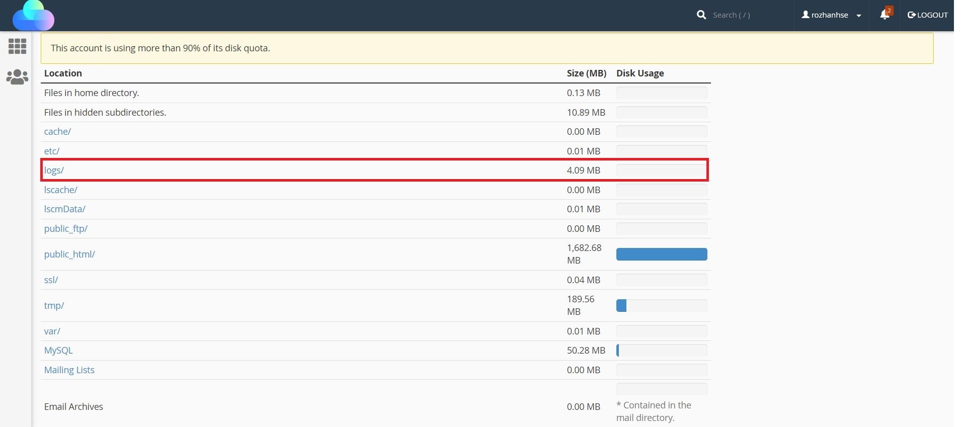 فایل های logs ابزار Disk Usage در سی پنل