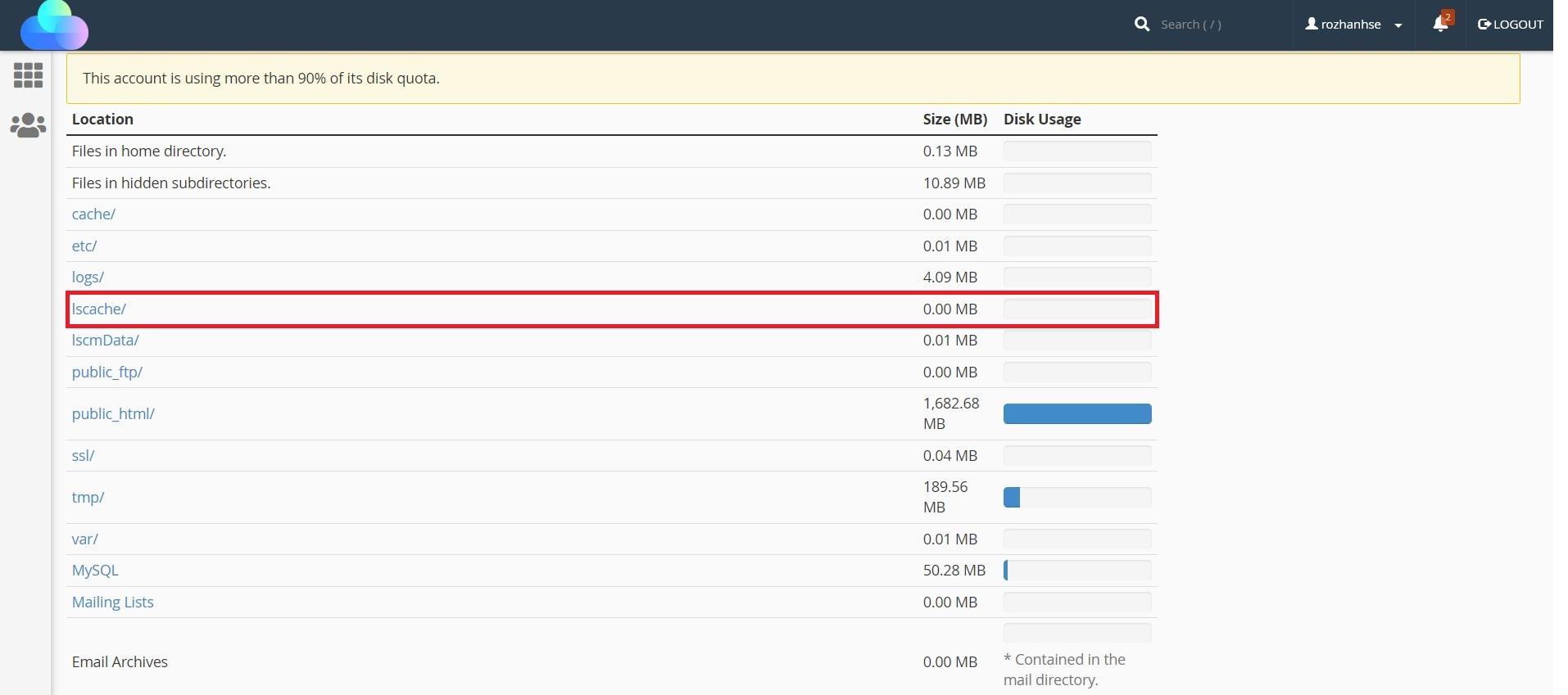 فایل های lscache ابزار Disk Usage در سی پنل