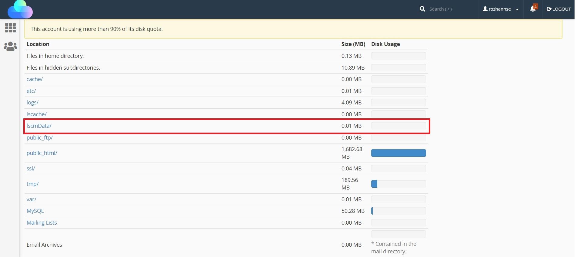 فایل های lscmData/ ابزار Disk Usage در سی پنل