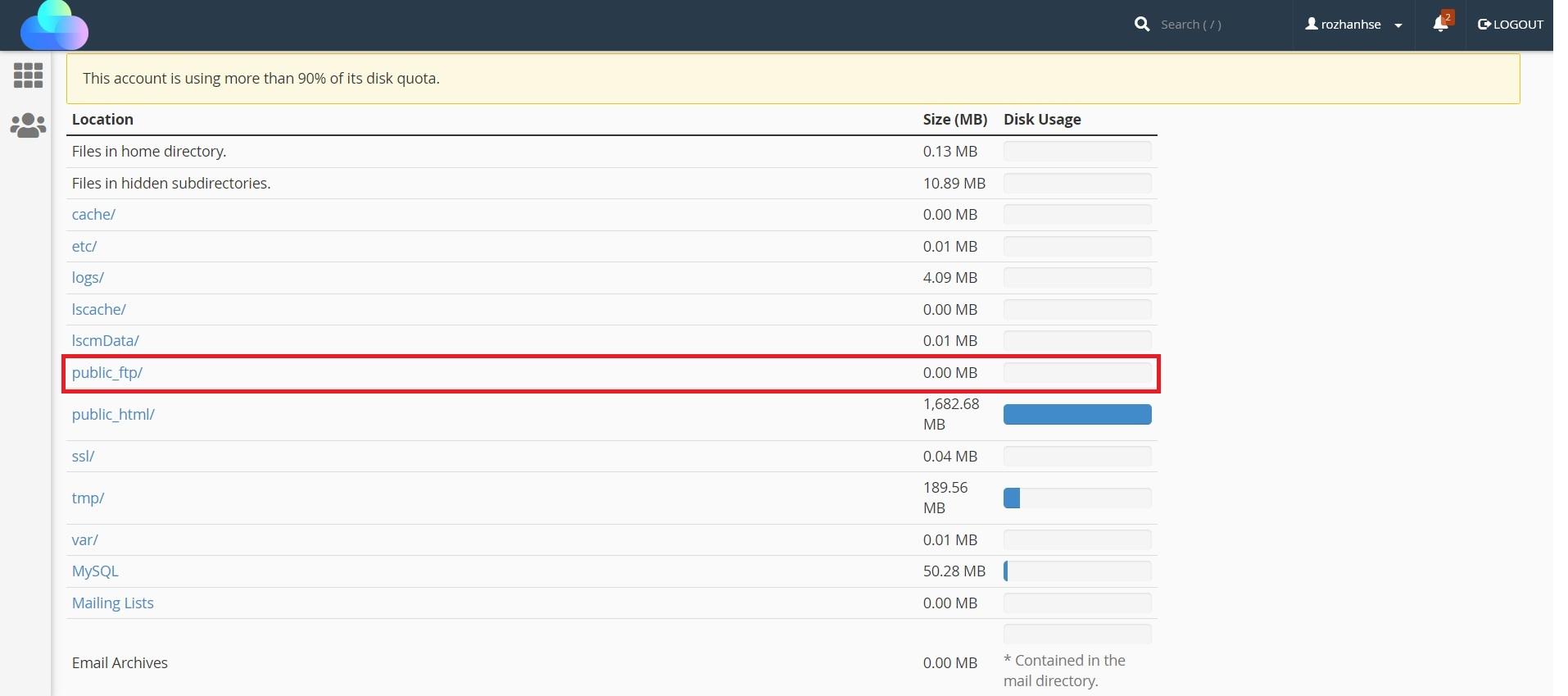 فایل های public_ftp ابزار Disk Usage در سی پنل