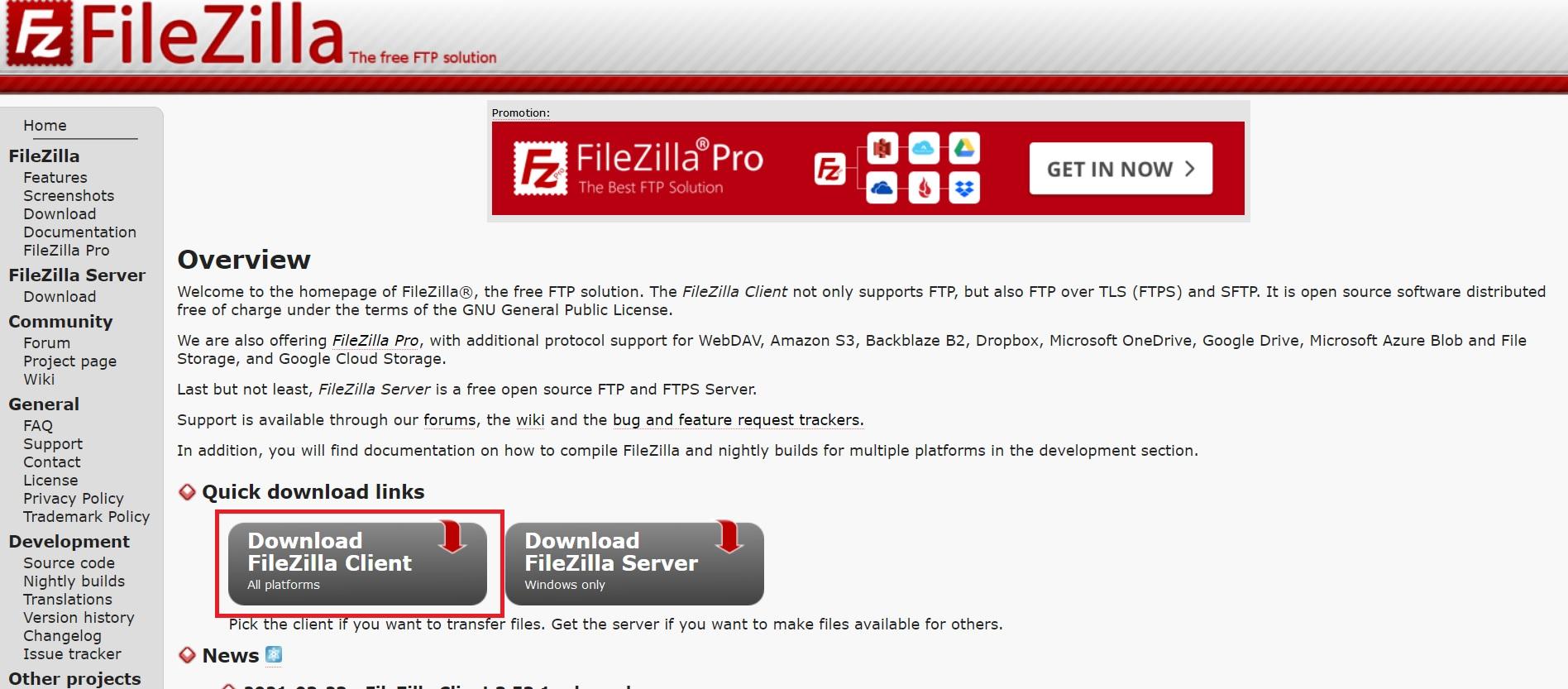 دانلود نرم افزار Filezilla