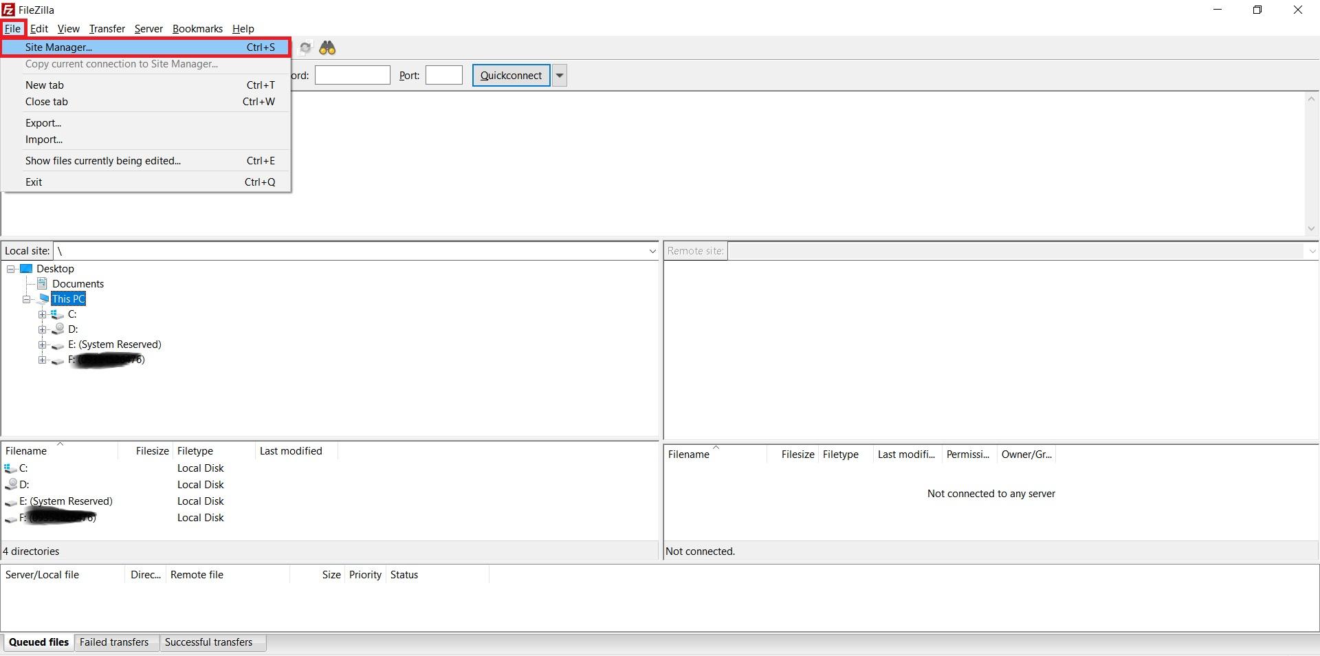 اتصال Site Manager در آموزش استفاده از FileZilla