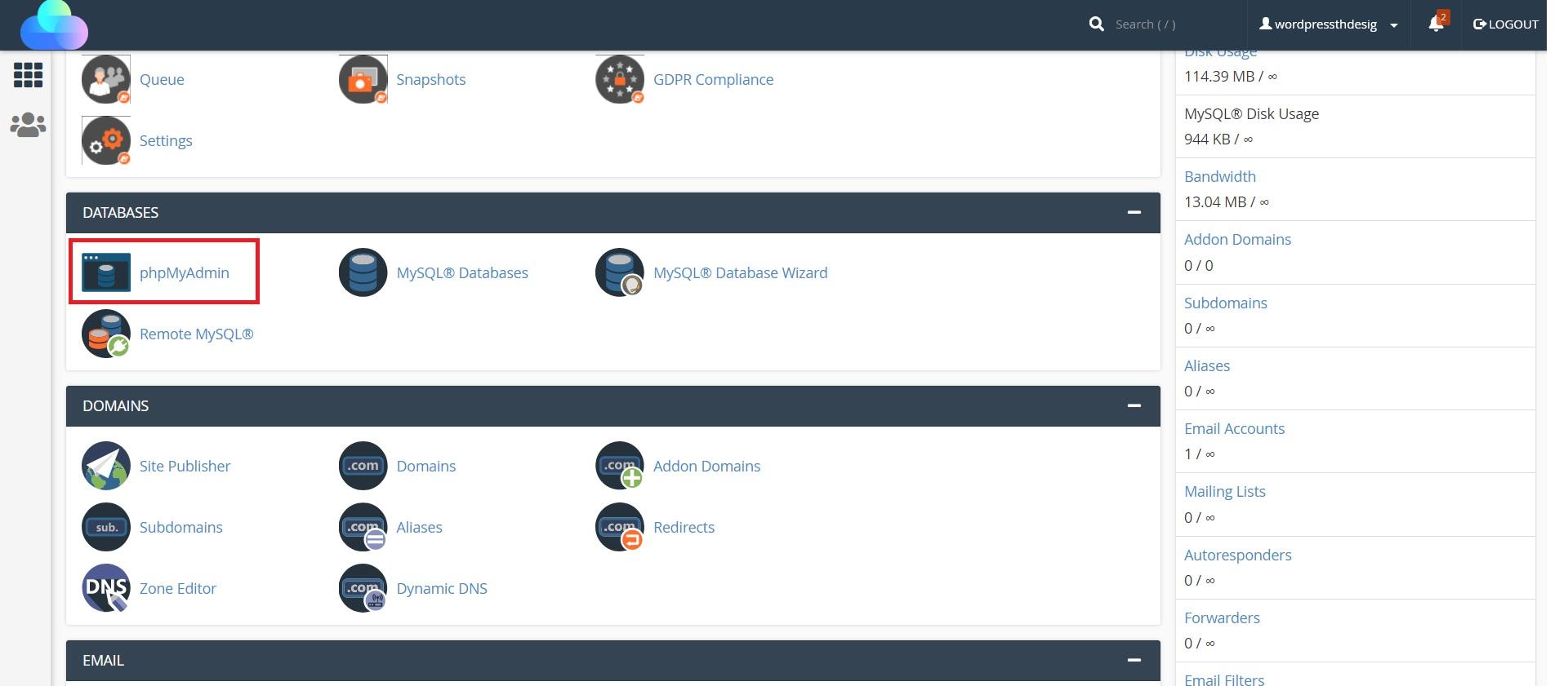 ورود به phpmyadmin جهت غیرفعال سازی افزونه های وردپرس