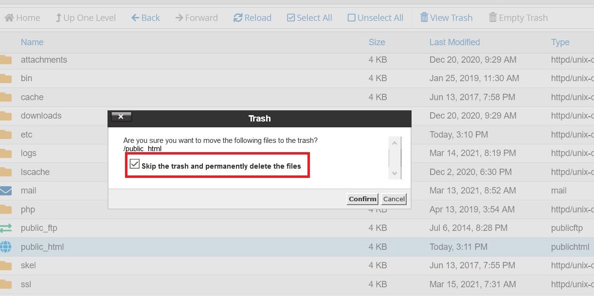 حذف دائم فایل ها در سی پنل