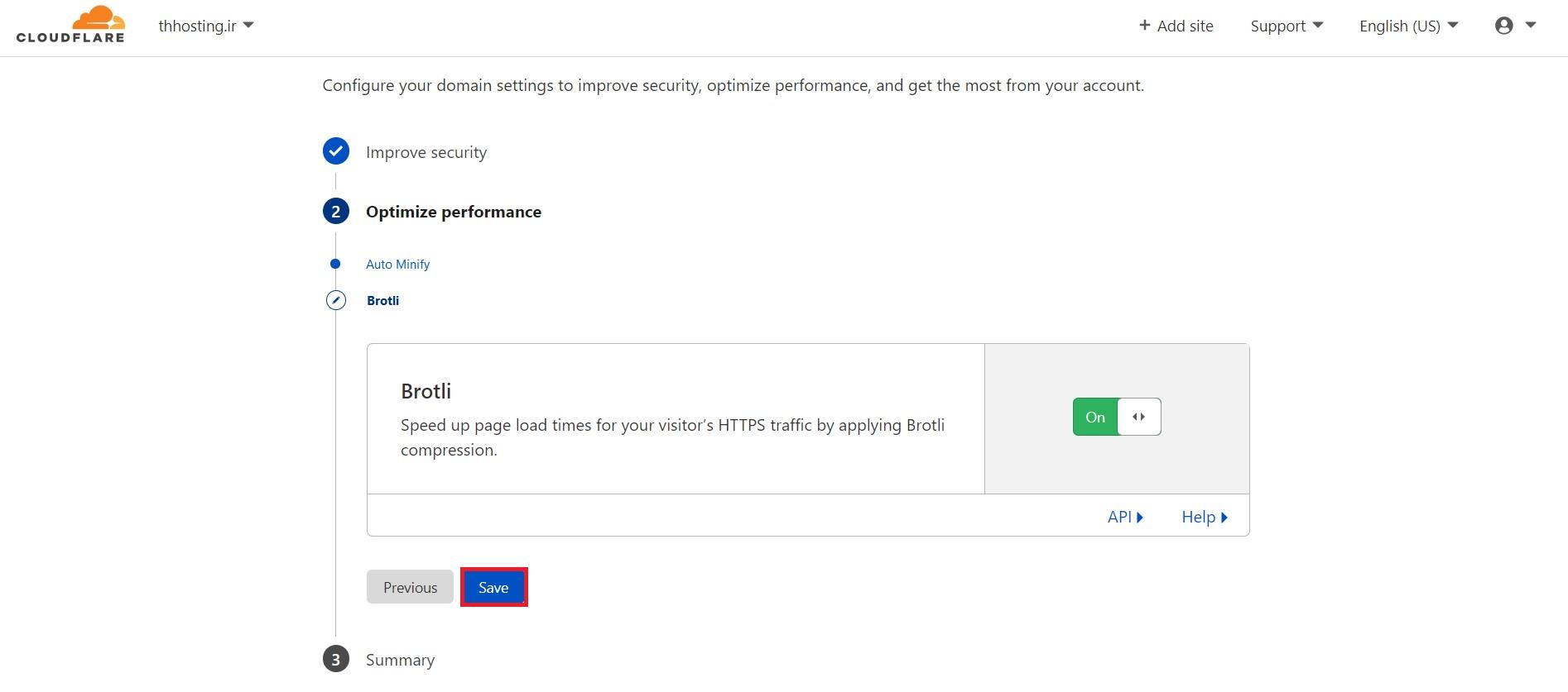 بخشImprove security در آموزش فعالسازی CloudFlare