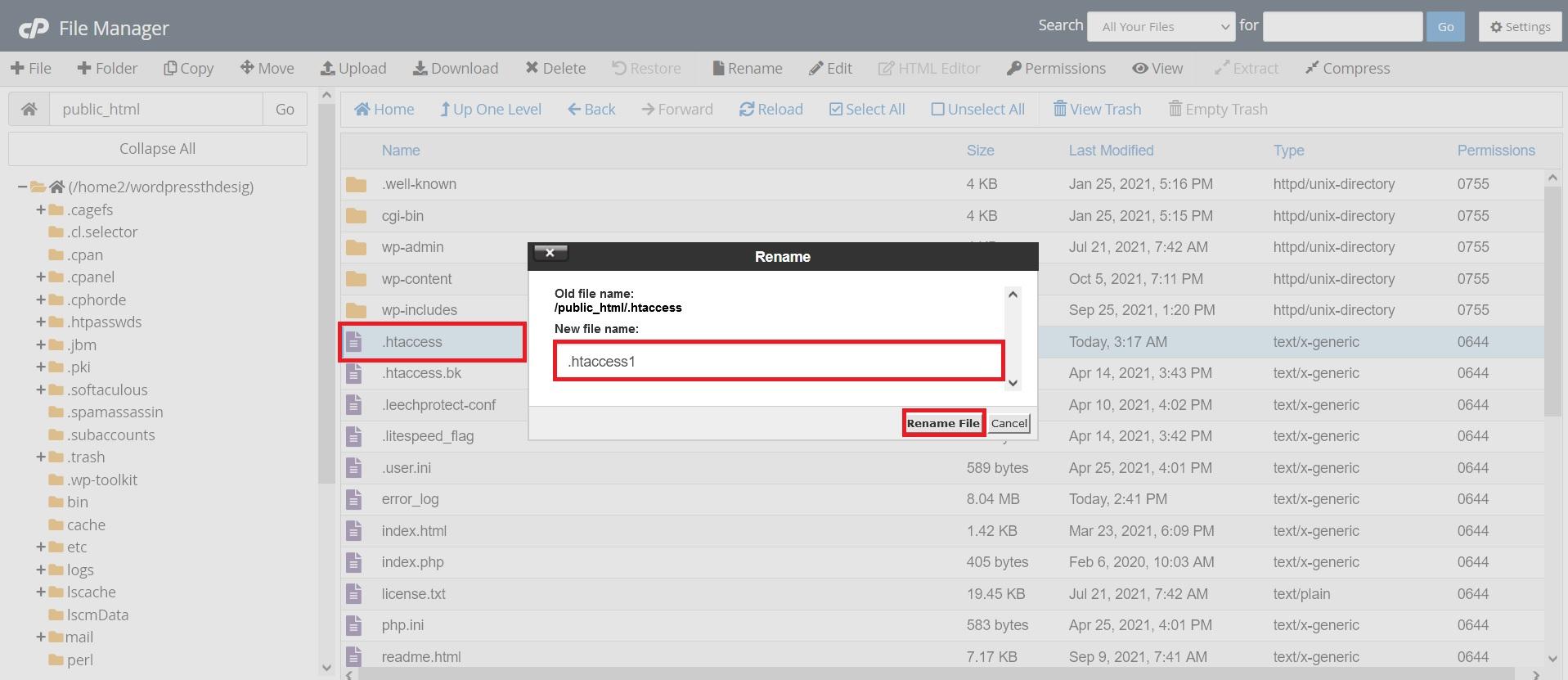 تغییر نام فایل htaccess در خطای عدم دسترسی به برگه وردپرس