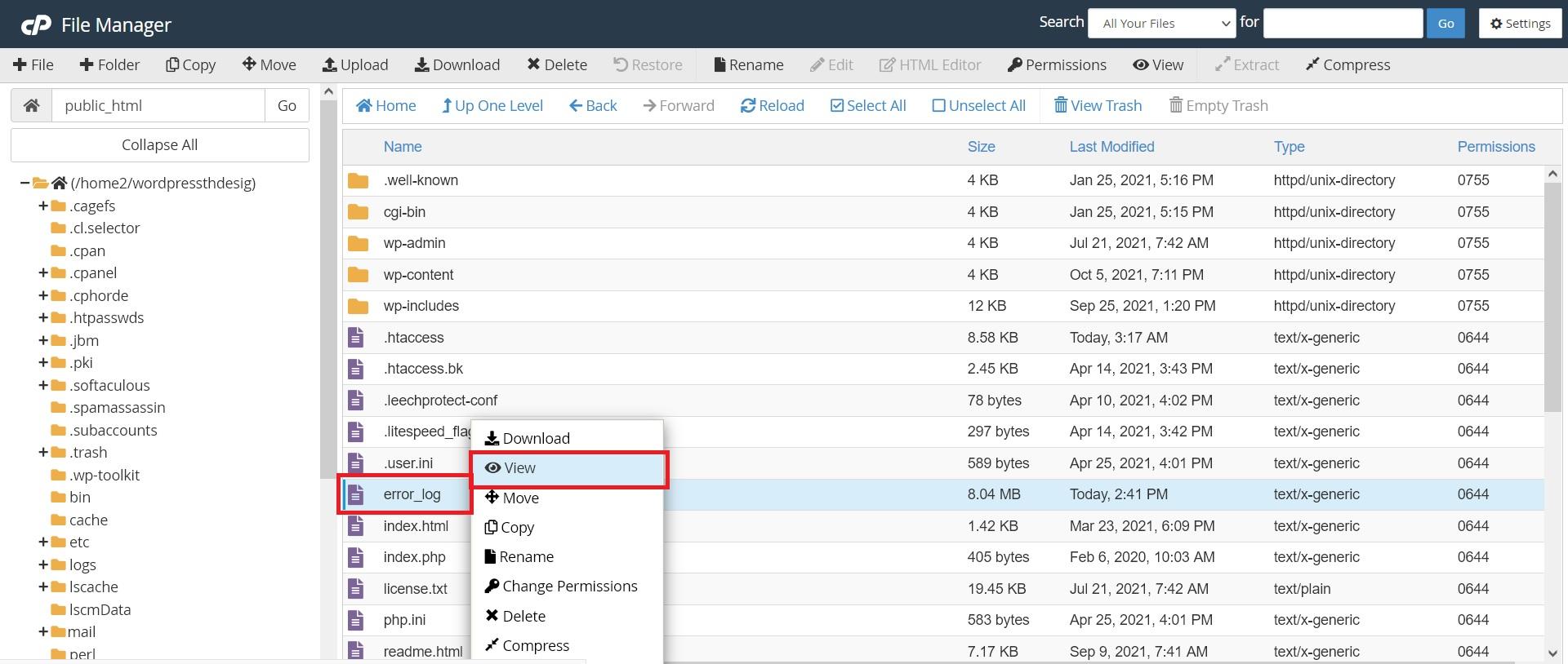 بررسی فایل errorlog وردپرس